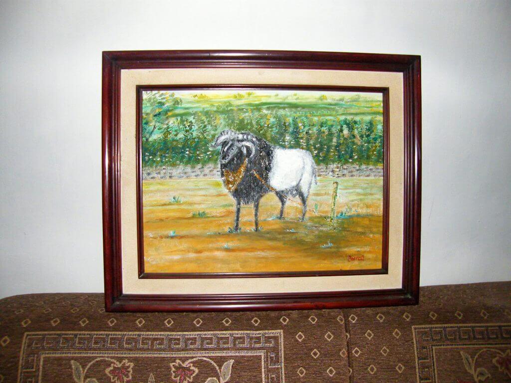 Lukisan domba adu karya Tjetjep Subarnas