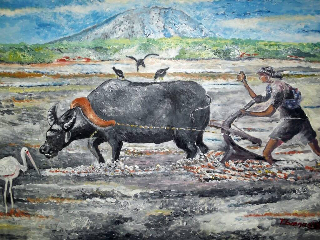 Lukisan kerbau pembajak sawah karya Tjetjep Subarnas