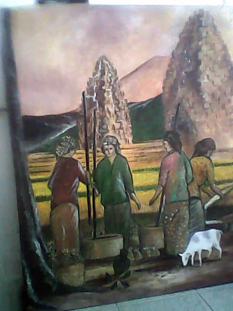 """Lukisan """"Menumbuk Padi"""" karya Tjetjep Subarnas"""