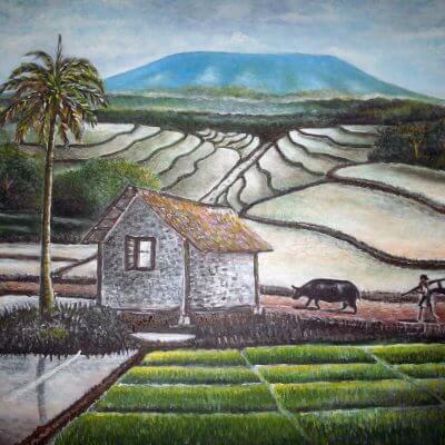 Lukisan pemandangan alam pedesaan karya Tjetjep Subarnas