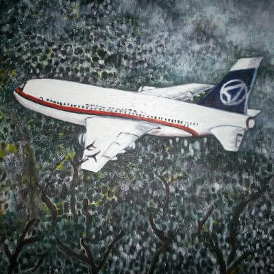 Lukisan pesawat Sukhoi Aircraft menabrak tebing karya Tjetjep Subarnas