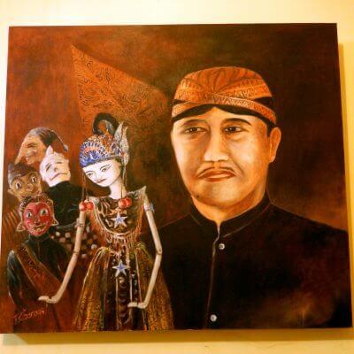 "Lukisan ""Wayang Asep Sunandar Sunarya"" karya Tjetjep Subarnas"